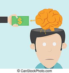 drain., cervello, perdita, talento