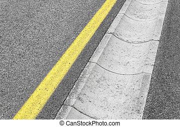 Drain channel on the asphalt road. - Drain concrete channel...