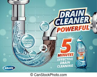 Drain cleaner ads, before and after effect in drain pipe,...