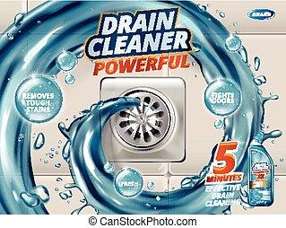 Drain cleaner ads, liquid flushing into drain, detergent...
