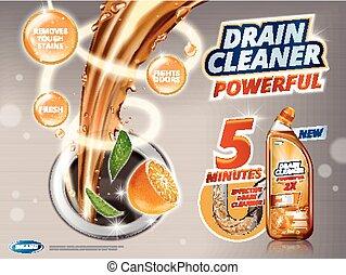 Drain cleaner ads, liquid flushing into drain with orange...