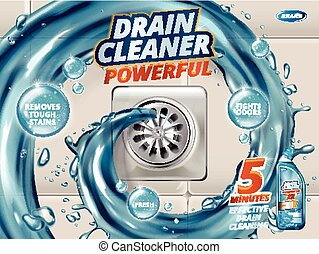Drain cleaner ads, liquid flushing into drain, detergent...