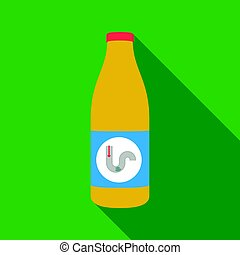 Drain cleaner icon in flat style isolated on white...