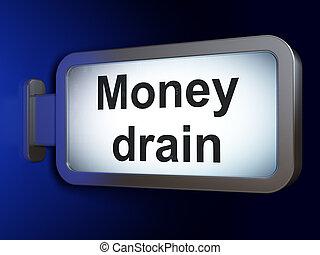 drain, devise argent, fond, panneau affichage, concept: