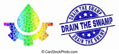 drain, grunge, pointillé, service, eau, marais, clair, vecteur, cachet, icône