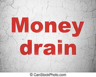 drain, mur, devise argent, fond, concept: