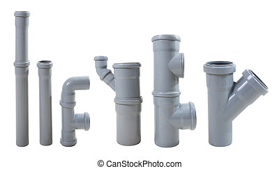 drain pipes - Modern water drain pipes. Isolated on white.