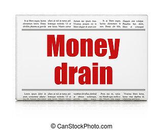 drain, titre, devise argent, journal, concept: