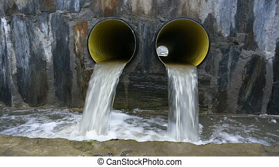 Drain waste. Waste is drained through pipes into a ditch....