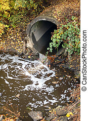 Drainage pipe - A drainage pipe from above with lots of...