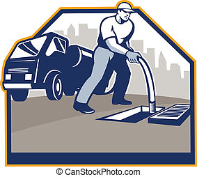 Illustration of a drainage drain surgeon unblocker worker unblocking hose into manhole with drainiage truck hydro unit in background set inside crest done in retro style.