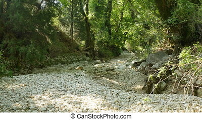 Drained River Rocks - White rocks on a dry riverbed in the...