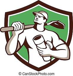 Drainlayer Holding Pipe Shovel Shield Retro