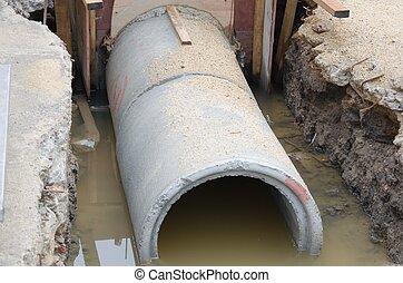 drainpipe - Concrete drainage tank on construction site