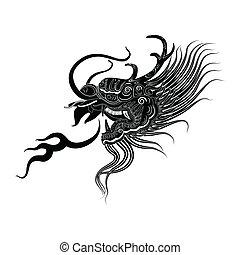 drak, hlavička, čerň, ilustrace