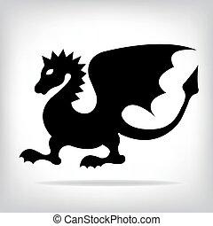 drak, vektor, tvůj, design.