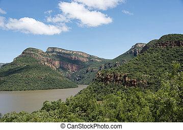 drakensberg, alatt, dél-afrika, noha, tó