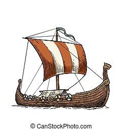 Drakkar floating on the sea waves. Hand drawn design element...