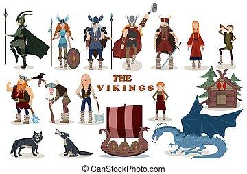 drakkar, gott, characters., wölfe, haus, wohnung, odin, valkyrie, wickinger, krieger, style., berserker, boy., m�dchen, vektor, hölzern, altes , thor, mann, karikatur, boot, feuerdrachen, segel, vikings., illustration.