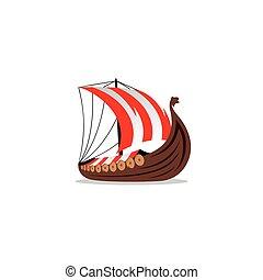 Drakkar sign. Viking transport ship. Vector Illustration.