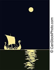 Drakkar. Viking ship. Scandinavik boat at the night sea. ...
