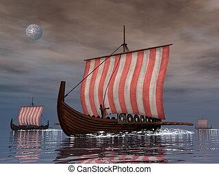 drakkars, oder, wickinger, schiffe, -, 3d, render