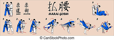 dramático, cadera, judo, tiro