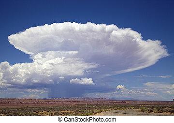 dramático, cumulonimbus, formati, nube
