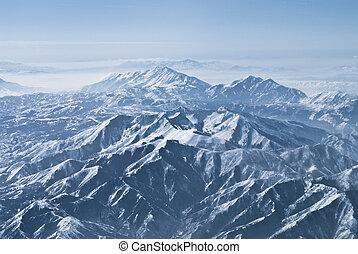 dramático, gamas de la montaña, en, el, montañas rocosas