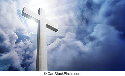 dramático, nuvens, crucifixos, brilhar