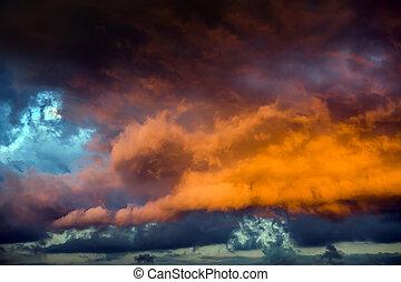 dramático, nuvens, experiência vermelha