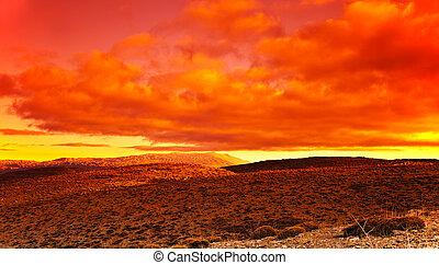 dramático, ocaso, desierto, rojo