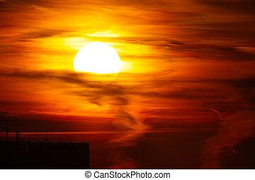 dramático, pôr do sol
