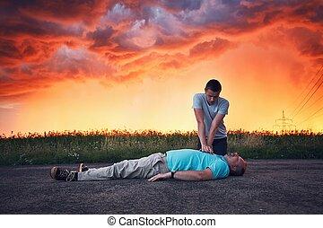 dramático, resuscitation, durante, tempestade