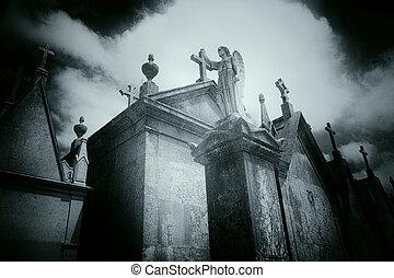 dramático, viejo, europeo, cementerio, ángel