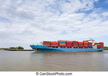 dramático, vista, de, completamente, carregado, navio...