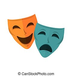 drama and comedy mask. happiness and sadness faces. vector...