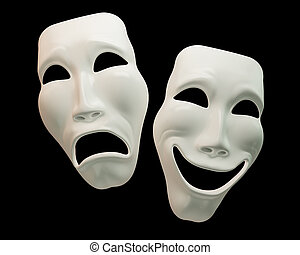 Theatre masks on black background with clipping paths