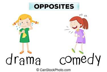 drama, comedia, palabras, contrario