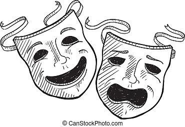 drama, esboço, máscaras