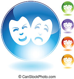 drama mask crystal button.