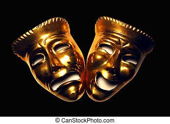 Drama Masks - Sad and Happy Drama mask photoshop artwork.