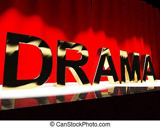drama, ord, scen, föreställa, broadway, den, west end, och,...