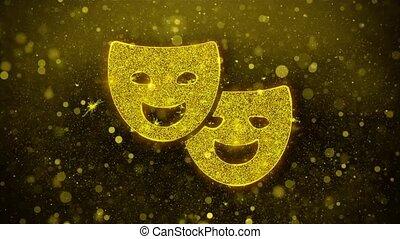 Drama, play, theater mask Icon Golden Glitter Shine...