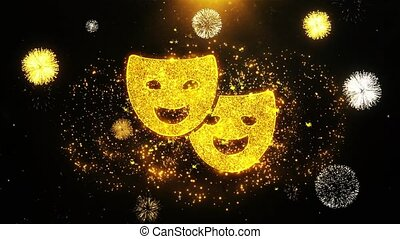 Drama, play, theater mask Icon on Firework Display Explosion...