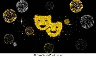 Drama, play, theater mask Icon on Glitter Golden Particles...