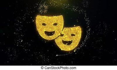 Drama, play, theater mask Icon on Gold Particles Fireworks...
