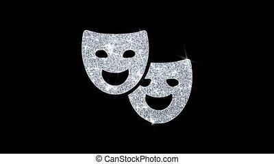 Drama, play, theater mask Icon Shining Glitter Loop Blinking...