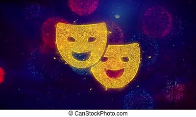 Drama, play, theater mask Icon Symbol on Colorful Fireworks...