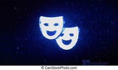 Drama, play, theater mask Symbol Digital Pixel Noise Error...